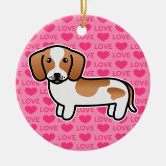 Ornamento De Cerâmica Cão liso dos desenhos animados do Dachshund do