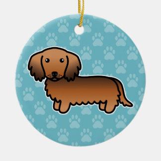 Ornamento De Cerâmica Cão longo dos desenhos animados do Dachshund do