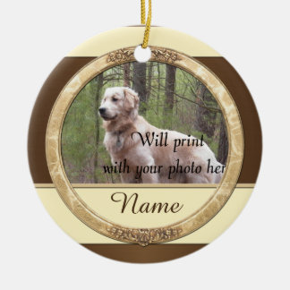 Ornamento De Cerâmica Cão ou gato Brown e Natal bege