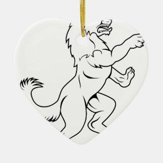 Ornamento De Cerâmica Cão ou lobo na pose desenfreado heráldica da