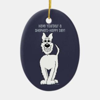 Ornamento De Cerâmica Cão pastor branco Smile