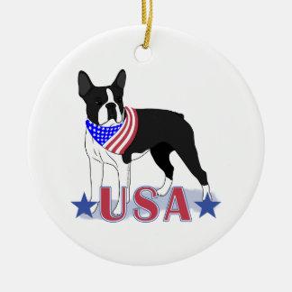 Ornamento De Cerâmica Cão patriótico dos EUA Boston Terrier
