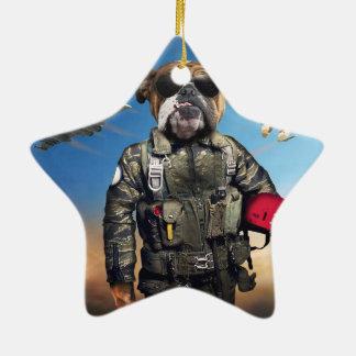 Ornamento De Cerâmica Cão piloto, buldogue engraçado, buldogue
