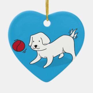 Ornamento De Cerâmica Cão que joga com uma bola