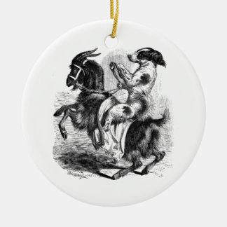 Ornamento De Cerâmica Cão que monta uma cabra