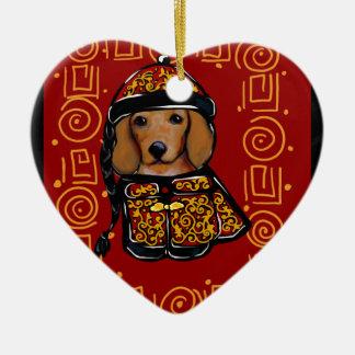 Ornamento De Cerâmica Cão vermelho do Dachshund do ano