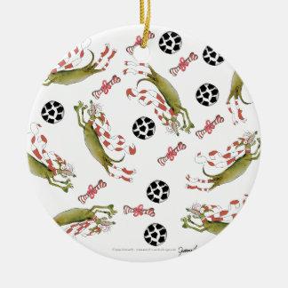 Ornamento De Cerâmica cão vermelho do futebol, bolas dos ossos