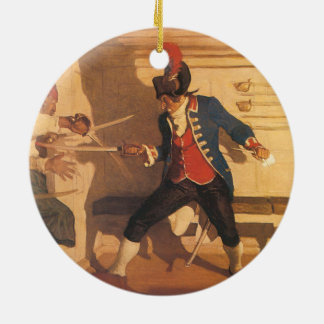 Ornamento De Cerâmica Capitão do pirata do vintage, luta da espada por