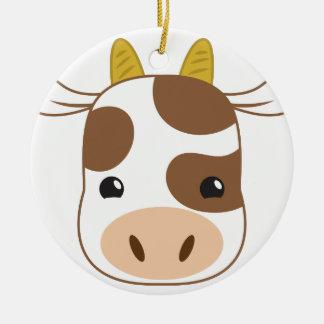 Ornamento De Cerâmica cara bonito da vaca