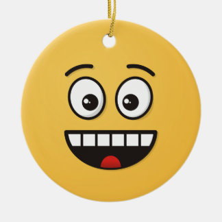 Ornamento De Cerâmica Cara de sorriso com boca aberta