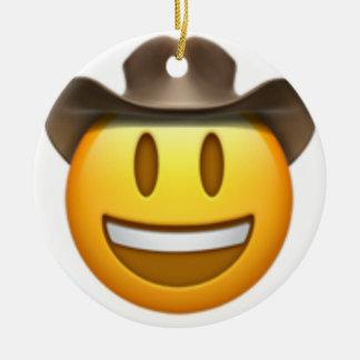 Ornamento De Cerâmica Cara do emoji do vaqueiro