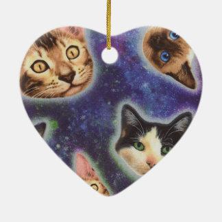 Ornamento De Cerâmica cara do gato - gato - gatos engraçados - espaço do