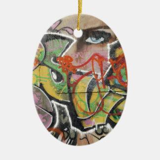 Ornamento De Cerâmica cara do tipo de texto mulher mural da arte