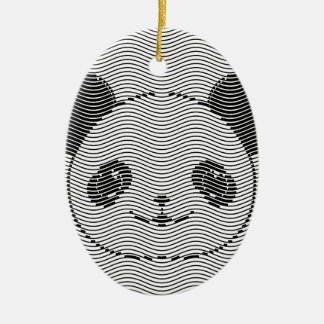 Ornamento De Cerâmica Cara do urso de panda no teste padrão de onda
