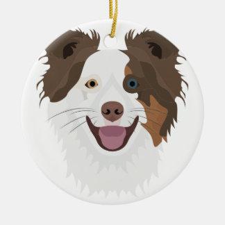 Ornamento De Cerâmica Cara feliz border collie dos cães da ilustração