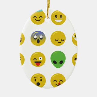 Ornamento De Cerâmica Cara feliz de Emoji