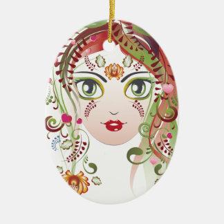 Ornamento De Cerâmica Cara floral 2 da menina