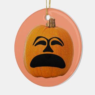 Ornamento De Cerâmica Cara infeliz da lanterna do o de Jack, abóbora do