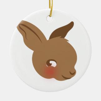 Ornamento De Cerâmica cara marrom do coelho do bebê