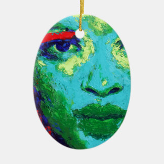 Ornamento De Cerâmica Cara verde