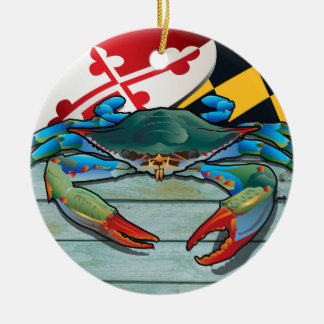 Ornamento De Cerâmica Caranguejo azul litoral de Maryland com bandeira