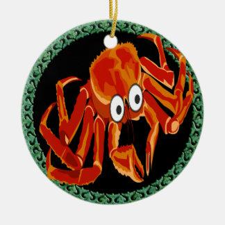 Ornamento De Cerâmica Caranguejo de rei alaranjado tropical do mar do