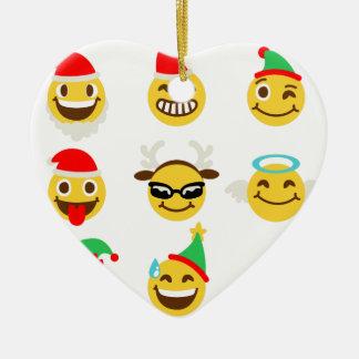Ornamento De Cerâmica caras felizes do emoji do xmas