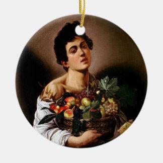 Ornamento De Cerâmica Caravaggio - menino com uma cesta de trabalhos de