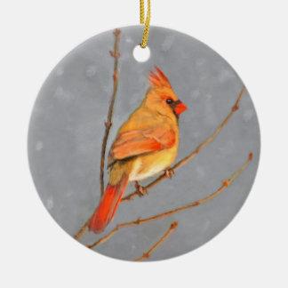 Ornamento De Cerâmica Cardeal no ramo