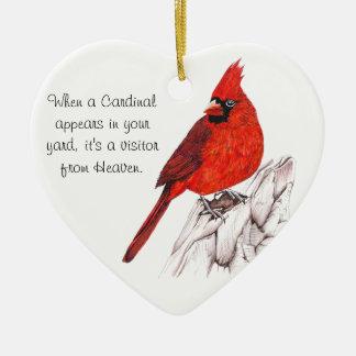 Ornamento De Cerâmica Cardinal