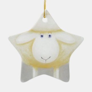 Ornamento De Cerâmica Carneiros Woolly brancos para a ovelha