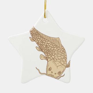 Ornamento De Cerâmica Carpa de Koi Nishikigoi que mergulha abaixo do