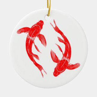 Ornamento De Cerâmica Carpa vermelha dos peixes de Koi