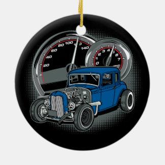 Ornamento De Cerâmica Carro azul da rua de Rod do rato