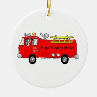 Ornamento De Cerâmica Carro de bombeiros
