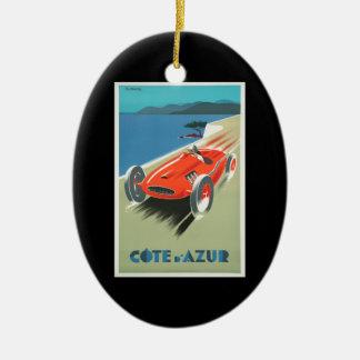 Ornamento De Cerâmica Carro de corridas do vermelho de Cote d'Azur