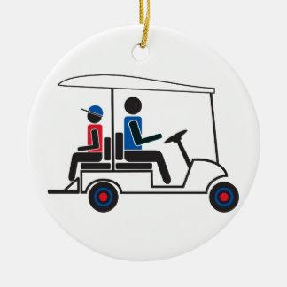 Ornamento De Cerâmica carro de golfe vermelho, branco e azul da família