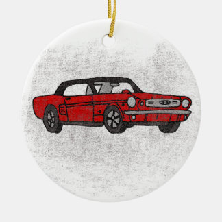 Ornamento De Cerâmica Carro de pônei convertível vermelho do vintage