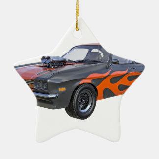 Ornamento De Cerâmica carro do músculo dos anos 70 com chama alaranjada