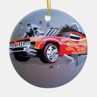 Ornamento De Cerâmica Carro que deixa de funcionar através da parede