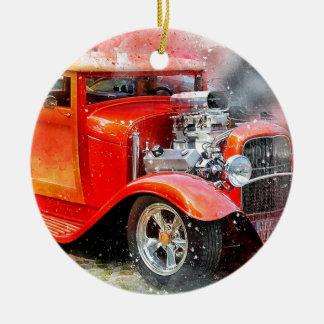 Ornamento De Cerâmica Carro vermelho velho clássico