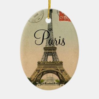 Ornamento De Cerâmica Cartão de Paris France da torre Eiffel do vintage