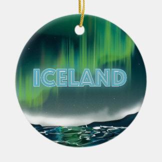 Ornamento De Cerâmica Cartaz islandês do viagem da aurora boreal