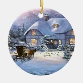 Ornamento De Cerâmica Casa de campo do natal vintage