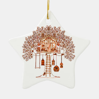 Ornamento De Cerâmica Casa na árvore