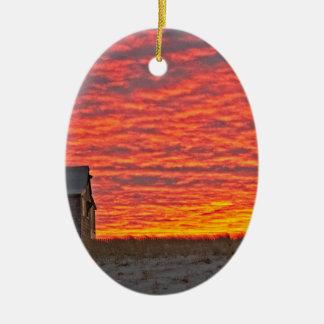 Ornamento De Cerâmica Casa no por do sol - 2