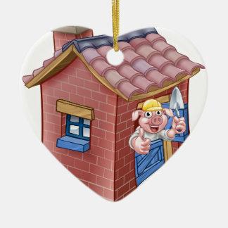 Ornamento De Cerâmica Casa pequena da palha do conto de fadas de três