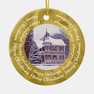 Ornamento De Cerâmica Casa velha do Victorian - Home para os feriados