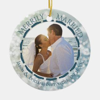 Ornamento De Cerâmica Casado alegre, cerceta da foto 2-Sided