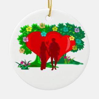 Ornamento De Cerâmica casais no coração e em flores vermelhos